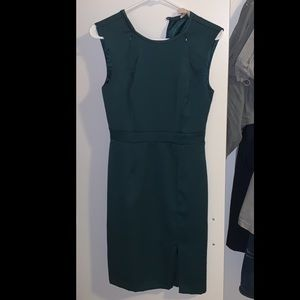 F21 Contemporary Forest Green Sheath Dress